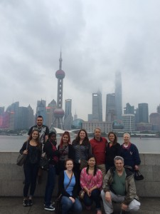 Students catch a glimpse of the skyline in Shanghai.