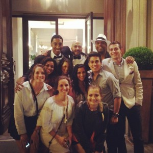 Students pose with Scottie Pippen in Florence, who was in town for Kim Kardashian and Kanye West's wedding.
